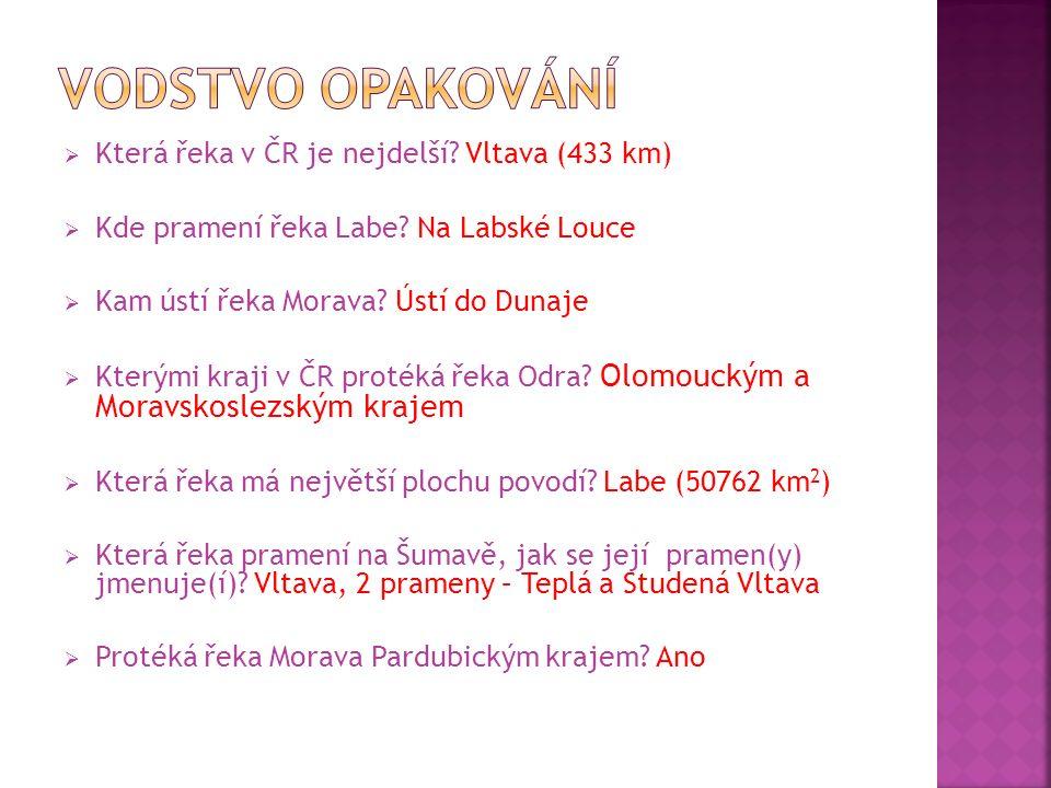  Která řeka v ČR je nejdelší.Vltava (433 km)  Kde pramení řeka Labe.
