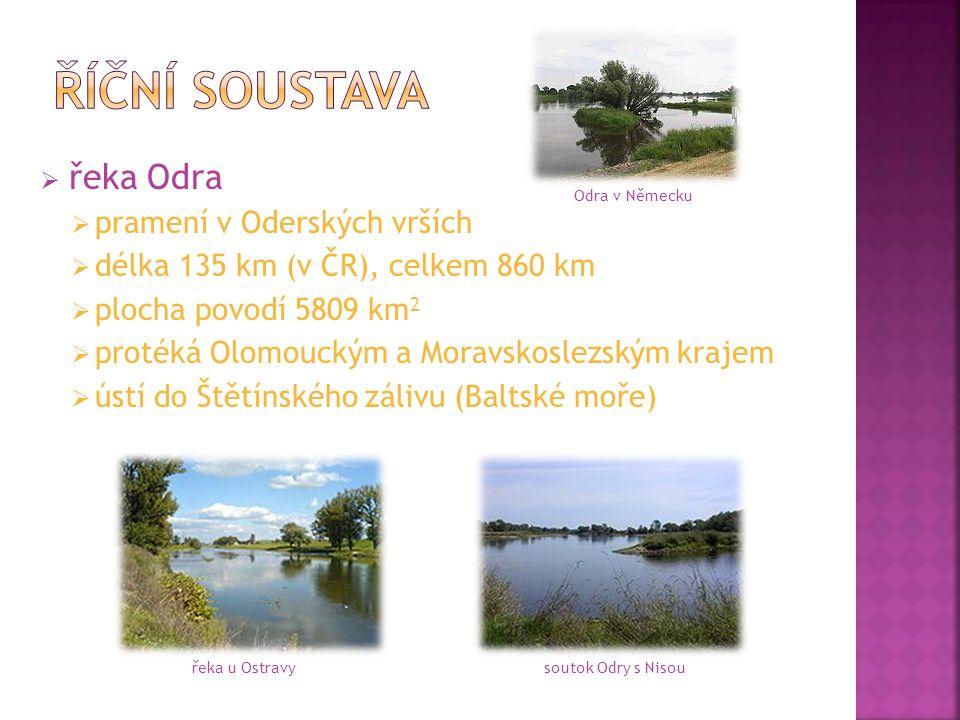  řeka Odra  pramení v Oderských vrších  délka 135 km (v ČR), celkem 860 km  plocha povodí 5809 km 2  protéká Olomouckým a Moravskoslezským krajem  ústí do Štětínského zálivu (Baltské moře) řeka u Ostravysoutok Odry s Nisou Odra v Německu