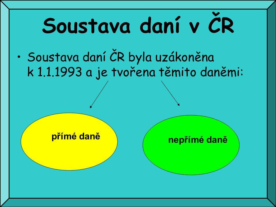 Soustava daní v ČR Soustava daní ČR byla uzákoněna k 1.1.1993 a je tvořena těmito daněmi: přímé daně nepřímé daně
