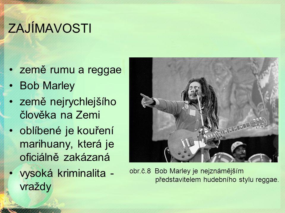 ZAJÍMAVOSTI země rumu a reggae Bob Marley země nejrychlejšího člověka na Zemi oblíbené je kouření marihuany, která je oficiálně zakázaná vysoká kriminalita - vraždy obr.č.8 Bob Marley je nejznámějším představitelem hudebního stylu reggae.