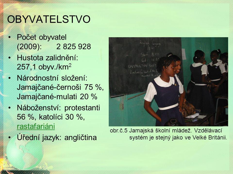 OBYVATELSTVO Počet obyvatel (2009): 2 825 928 Hustota zalidnění: 257,1 obyv./km 2 Národnostní složení: Jamajčané-černoši 75 %, Jamajčané-mulati 20 % Náboženství: protestanti 56 %, katolíci 30 %, rastafariáni rastafariáni Úřední jazyk: angličtina obr.č.5 Jamajská školní mládež.