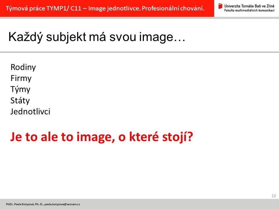 Každý subjekt má svou image… 10 PhDr.Pavla Kotyzová, Ph.