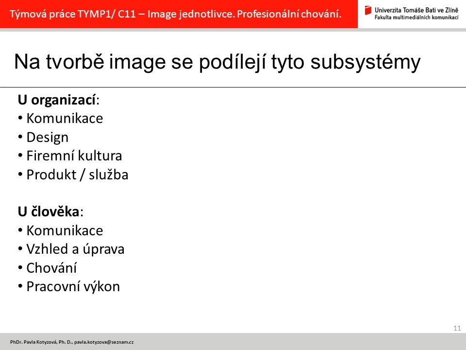 Na tvorbě image se podílejí tyto subsystémy 11 PhDr.