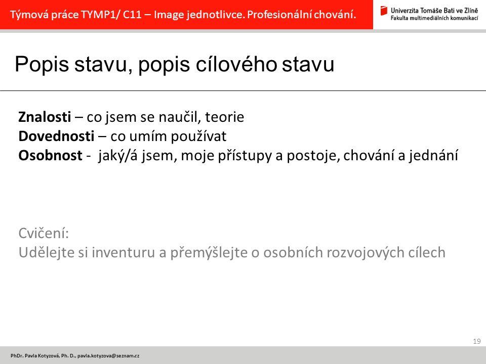 Popis stavu, popis cílového stavu 19 PhDr.Pavla Kotyzová, Ph.