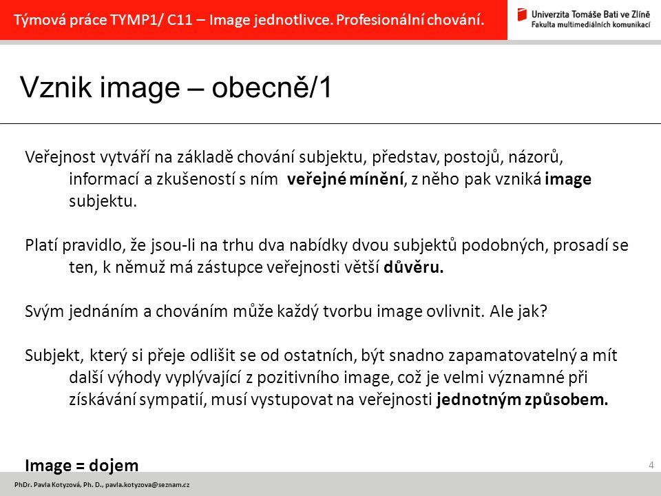 Vznik image – obecně/1 4 PhDr.Pavla Kotyzová, Ph.