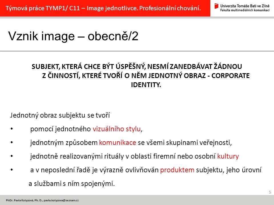 Vznik image – obecně/2 5 PhDr.Pavla Kotyzová, Ph.