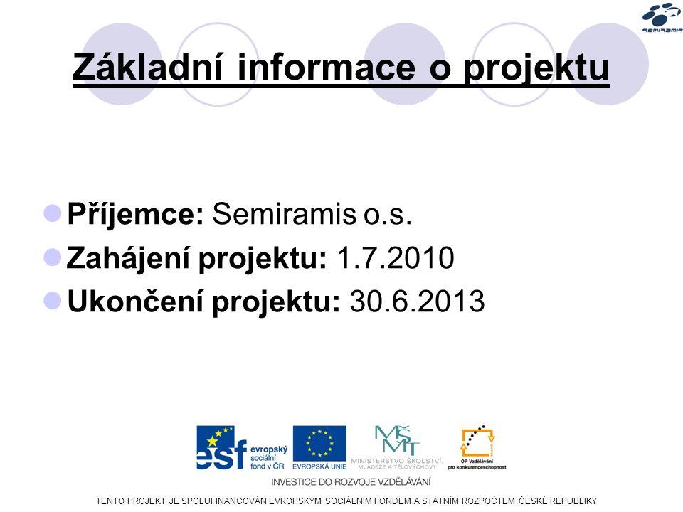 TENTO PROJEKT JE SPOLUFINANCOVÁN EVROPSKÝM SOCIÁLNÍM FONDEM A STÁTNÍM ROZPOČTEM ČESKÉ REPUBLIKY Základní informace o projektu Příjemce: Semiramis o.s.