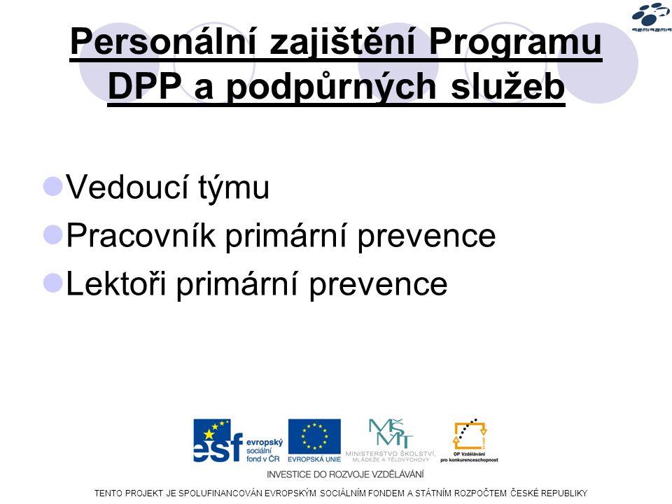 TENTO PROJEKT JE SPOLUFINANCOVÁN EVROPSKÝM SOCIÁLNÍM FONDEM A STÁTNÍM ROZPOČTEM ČESKÉ REPUBLIKY Personální zajištění Programu DPP a podpůrných služeb Vedoucí týmu Pracovník primární prevence Lektoři primární prevence