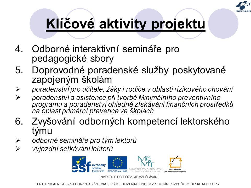 TENTO PROJEKT JE SPOLUFINANCOVÁN EVROPSKÝM SOCIÁLNÍM FONDEM A STÁTNÍM ROZPOČTEM ČESKÉ REPUBLIKY Klíčové aktivity projektu 4.Odborné interaktivní semináře pro pedagogické sbory 5.Doprovodné poradenské služby poskytované zapojeným školám  poradenství pro učitele, žáky i rodiče v oblasti rizikového chování  poradenství a asistence při tvorbě Minimálního preventivního programu a poradenství ohledně získávání finančních prostředků na oblast primární prevence ve školách 6.Zvyšování odborných kompetencí lektorského týmu  odborné semináře pro tým lektorů  výjezdní setkávání lektorů