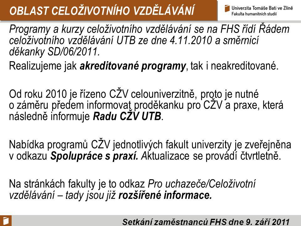 OBLAST CELOŽIVOTNÍHO VZDĚLÁVÁNÍ Programy a kurzy celoživotního vzdělávání se na FHS řídí Řádem celoživotního vzdělávání UTB ze dne 4.11.2010 a směrnicí děkanky SD/06/2011.