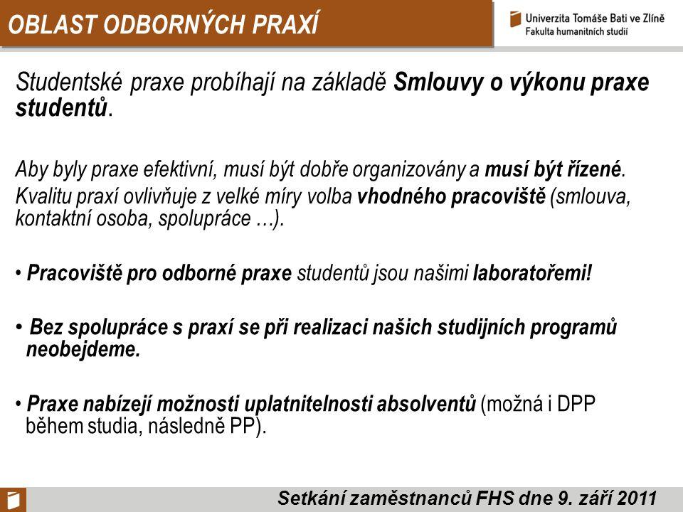 OBLAST ODBORNÝCH PRAXÍ Studentské praxe probíhají na základě Smlouvy o výkonu praxe studentů.