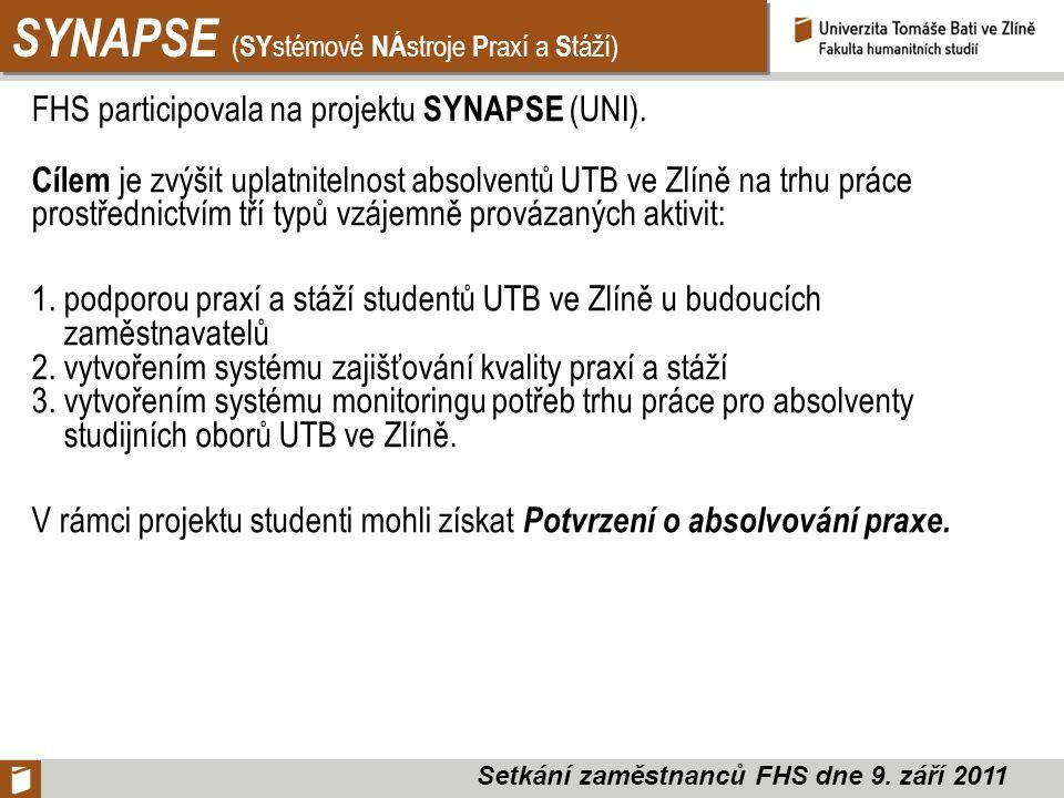 SYNAPSE ( SY stémové NÁ stroje P raxí a S táží) FHS participovala na projektu SYNAPSE (UNI).