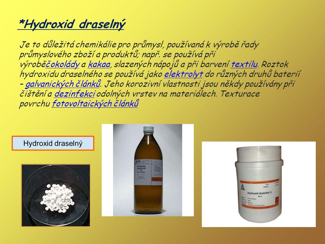 *Hydroxid vápenatý Díky silně zásaditým vlastnostem se hydroxid vápenatý používá v široké škále oblastí: jako flokulant, ve vodě, při zpracování odpad