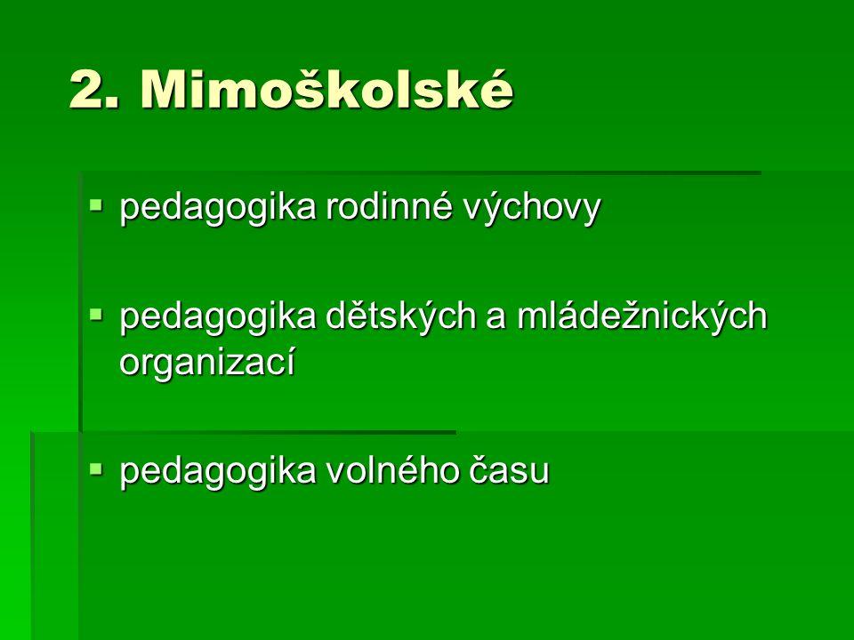 2. Mimoškolské 2. Mimoškolské  pedagogika rodinné výchovy  pedagogika dětských a mládežnických organizací  pedagogika volného času