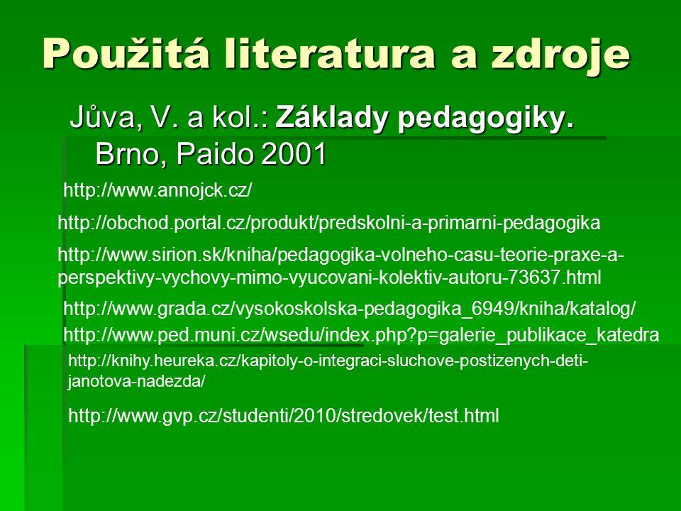 Použitá literatura a zdroje Jůva, V. a kol.: Základy pedagogiky. Brno, Paido 2001 http://obchod.portal.cz/produkt/predskolni-a-primarni-pedagogika htt