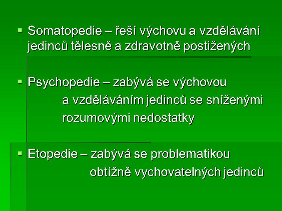  Somatopedie – řeší výchovu a vzdělávání jedinců tělesně a zdravotně postižených  Psychopedie – zabývá se výchovou a vzděláváním jedinců se sníženými a vzděláváním jedinců se sníženými rozumovými nedostatky rozumovými nedostatky  Etopedie – zabývá se problematikou obtížně vychovatelných jedinců obtížně vychovatelných jedinců