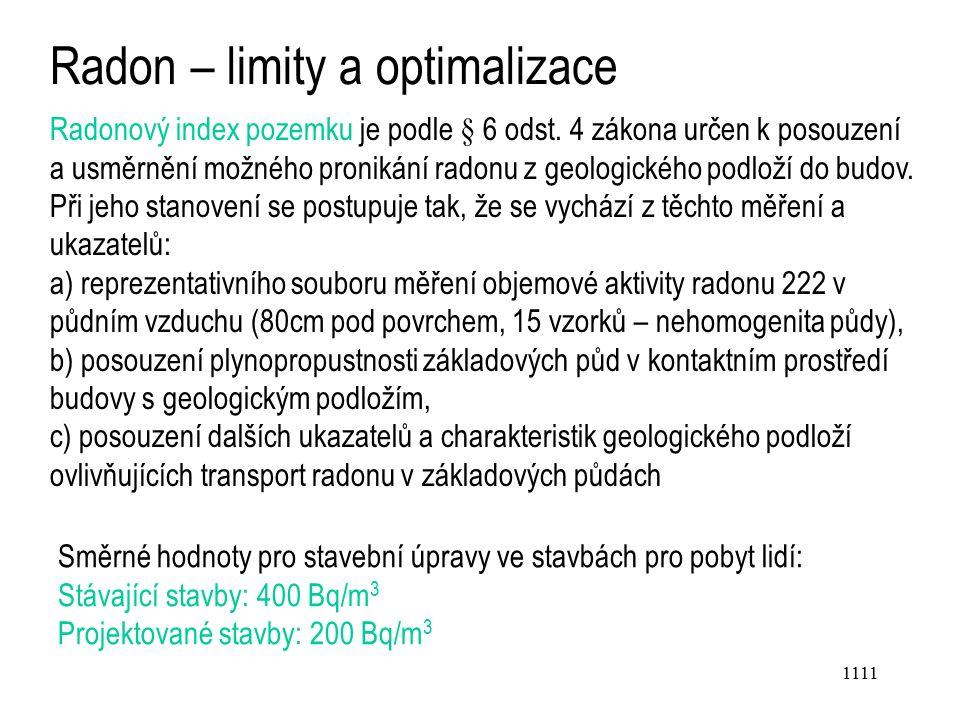1111 Radon – limity a optimalizace Radonový index pozemku je podle § 6 odst.