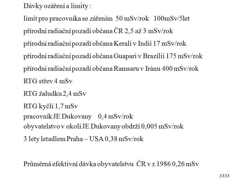 3333 Dávky ozáření a limity : limit pro pracovníka se zářením 50 mSv/rok 100mSv/5let přírodní radiační pozadí občana ČR 2,5 až 3 mSv/rok přírodní radiační pozadí občana Kerali v Indii 17 mSv/rok přírodní radiační pozadí občana Guapari v Brazílii 175 mSv/rok přírodní radiační pozadí občana Ramsaru v Iránu 400 mSv/rok RTG střev 4 mSv RTG žaludku 2,4 mSv RTG kyčlí 1,7 mSv pracovník JE Dukovany 0,4 mSv/rok obyvatelstvo v okolí JE Dukovany obdrží 0,005 mSv/rok 3 lety letadlem Praha – USA 0,38 mSv/rok Průměrná efektivní dávka obyvatelstvu ČR v r.1986 0,26 mSv