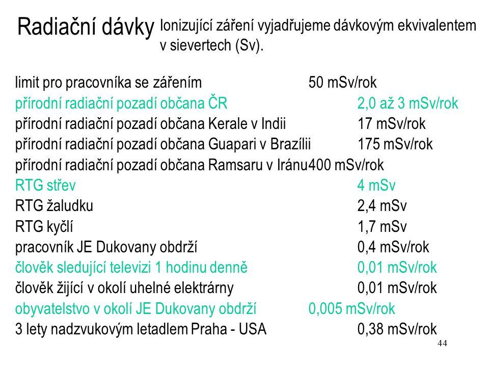 44 limit pro pracovníka se zářením 50 mSv/rok přírodní radiační pozadí občana ČR2,0 až 3 mSv/rok přírodní radiační pozadí občana Kerale v Indii17 mSv/rok přírodní radiační pozadí občana Guapari v Brazílii175 mSv/rok přírodní radiační pozadí občana Ramsaru v Iránu400 mSv/rok RTG střev4 mSv RTG žaludku2,4 mSv RTG kyčlí1,7 mSv pracovník JE Dukovany obdrží0,4 mSv/rok člověk sledující televizi 1 hodinu denně 0,01 mSv/rok člověk žijící v okolí uhelné elektrárny 0,01 mSv/rok obyvatelstvo v okolí JE Dukovany obdrží0,005 mSv/rok 3 lety nadzvukovým letadlem Praha - USA 0,38 mSv/rok Ionizující záření vyjadřujeme dávkovým ekvivalentem v sievertech (Sv).