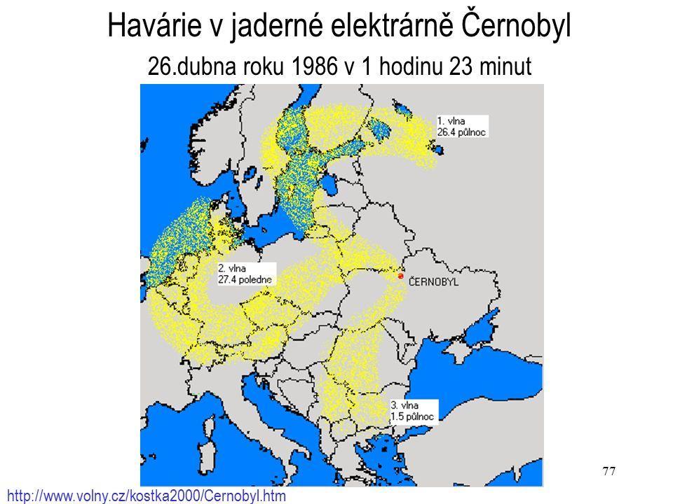 77 http://www.volny.cz/kostka2000/Cernobyl.htm Havárie v jaderné elektrárně Černobyl 26.dubna roku 1986 v 1 hodinu 23 minut