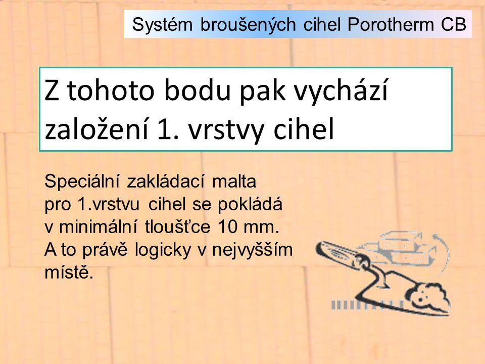 Systém broušených cihel Porotherm CB Z tohoto bodu pak vychází založení 1.