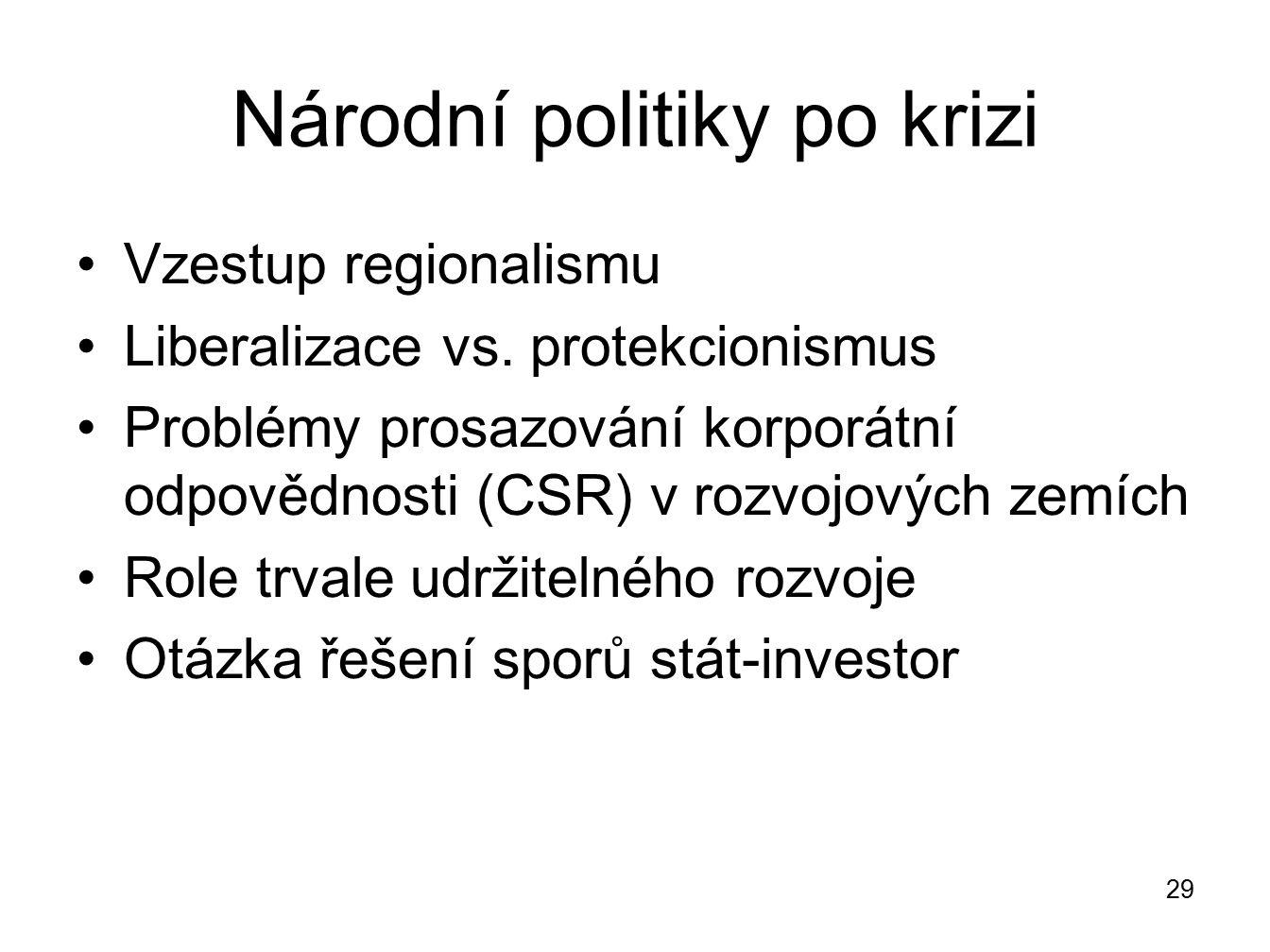 Národní politiky po krizi Vzestup regionalismu Liberalizace vs. protekcionismus Problémy prosazování korporátní odpovědnosti (CSR) v rozvojových zemíc