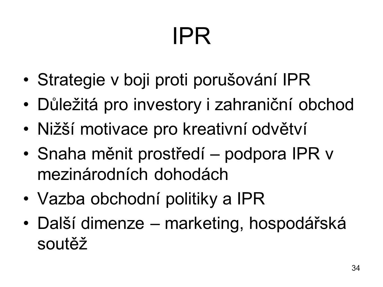 IPR Strategie v boji proti porušování IPR Důležitá pro investory i zahraniční obchod Nižší motivace pro kreativní odvětví Snaha měnit prostředí – podp