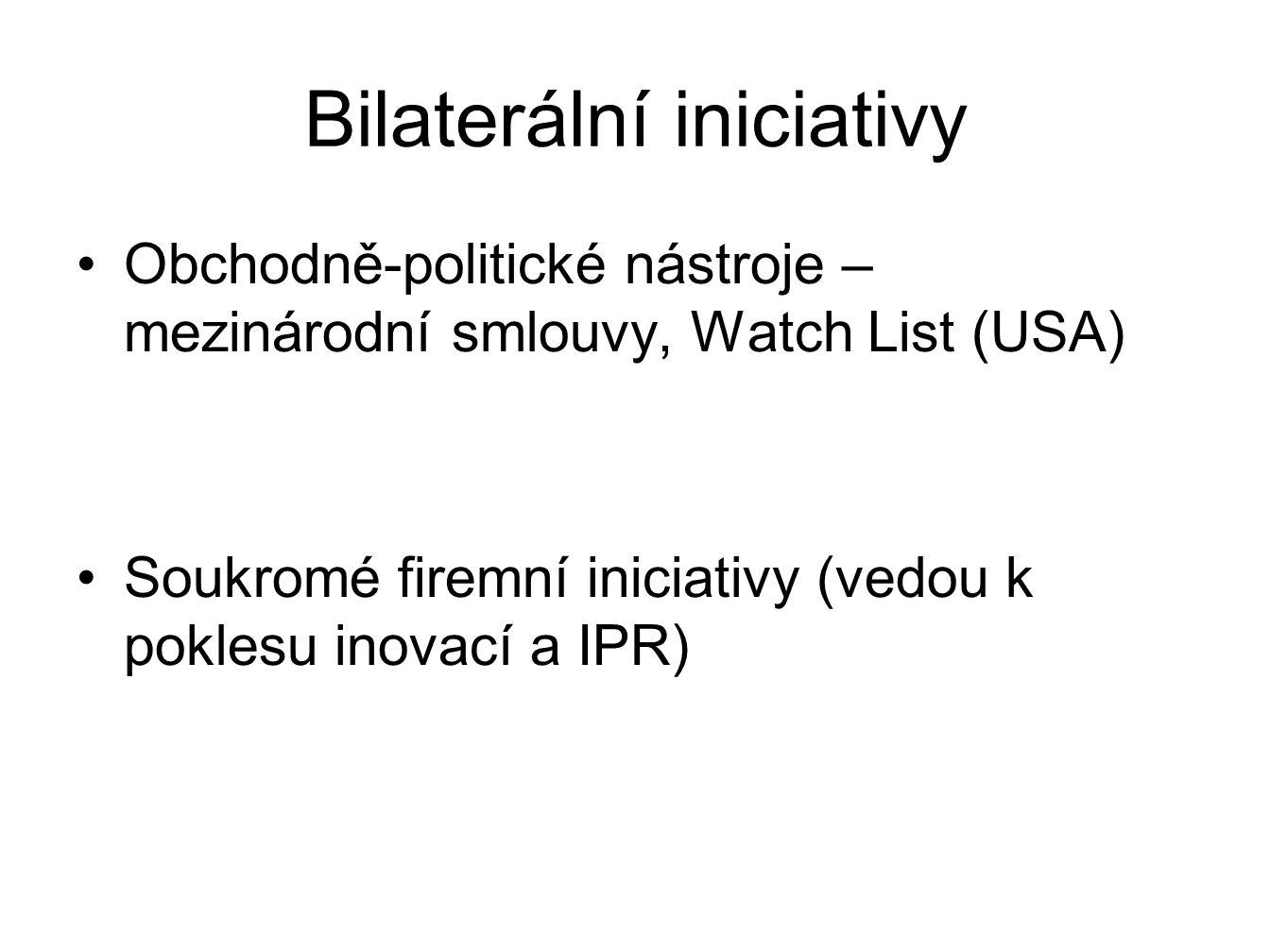 Bilaterální iniciativy Obchodně-politické nástroje – mezinárodní smlouvy, Watch List (USA) Soukromé firemní iniciativy (vedou k poklesu inovací a IPR)