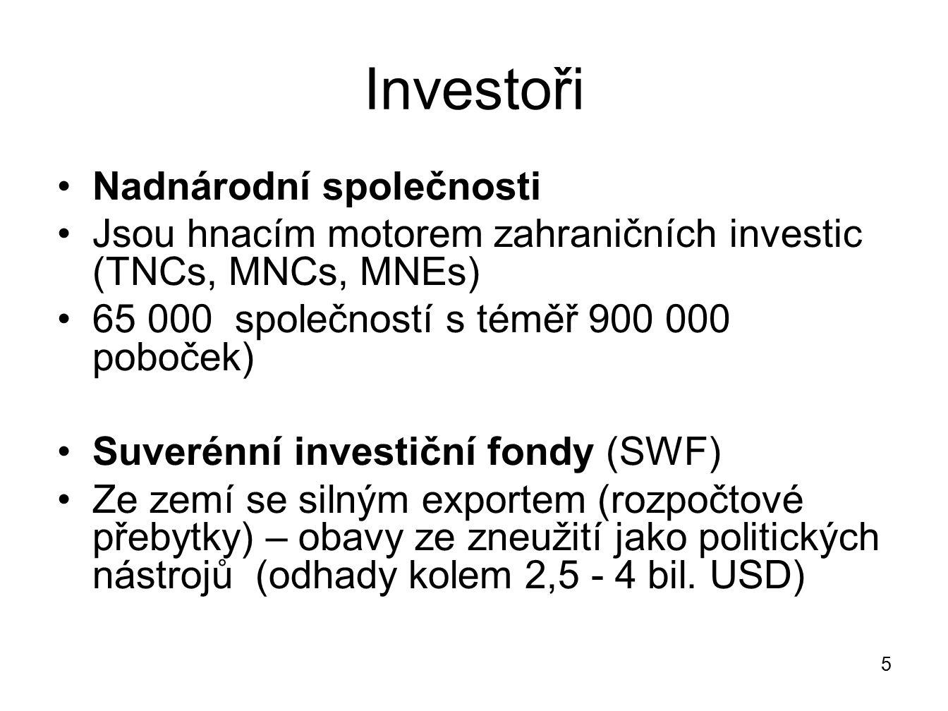 Investoři Nadnárodní společnosti Jsou hnacím motorem zahraničních investic (TNCs, MNCs, MNEs) 65 000 společností s téměř 900 000 poboček) Suverénní in