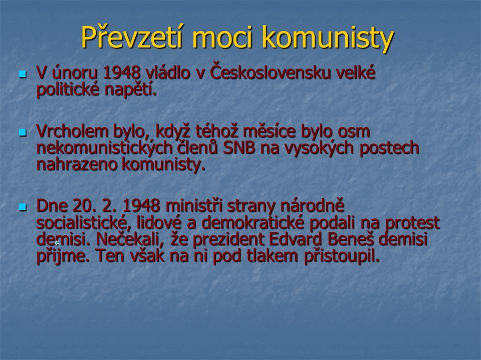 Převzetí moci komunisty V únoru 1948 vládlo v Československu velké politické napětí.