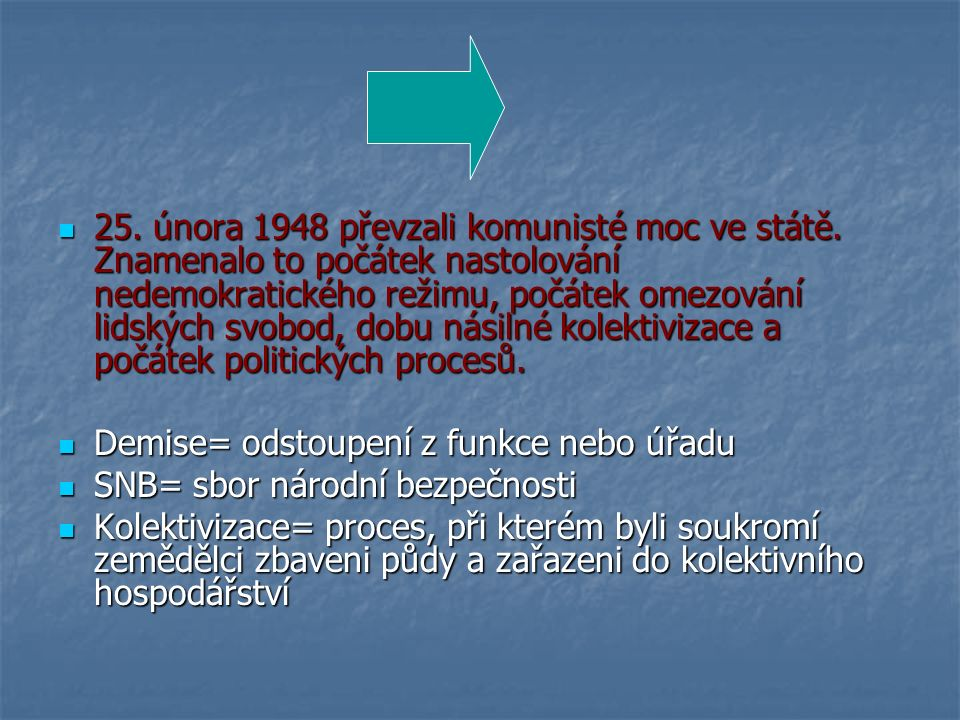 25. února 1948 převzali komunisté moc ve státě.