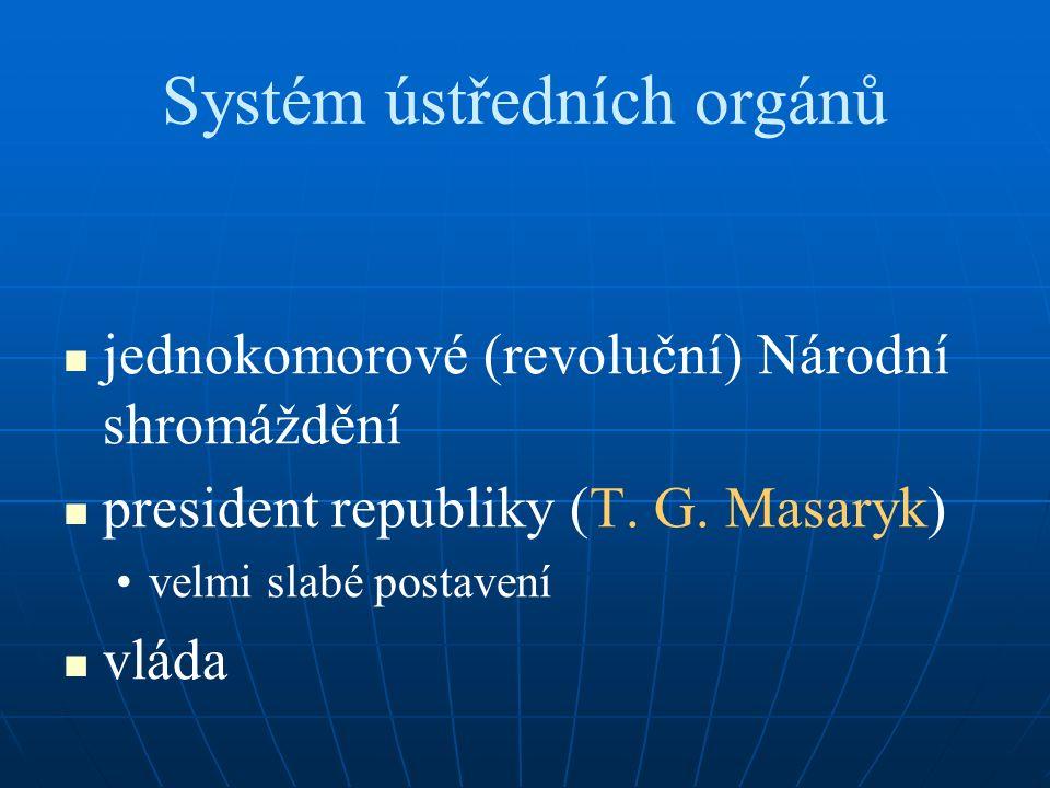 Systém ústředních orgánů jednokomorové (revoluční) Národní shromáždění president republiky (T.