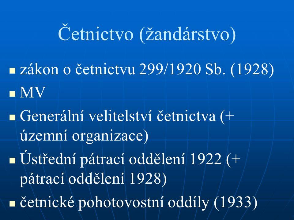 Četnictvo (žandárstvo) zákon o četnictvu 299/1920 Sb.