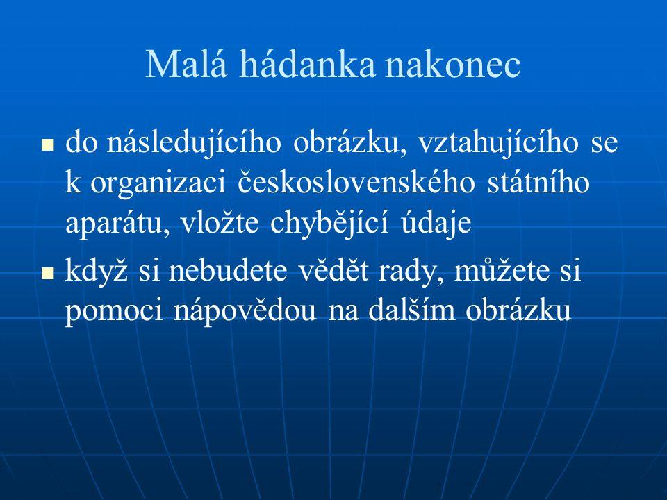 Malá hádanka nakonec do následujícího obrázku, vztahujícího se k organizaci československého státního aparátu, vložte chybějící údaje když si nebudete vědět rady, můžete si pomoci nápovědou na dalším obrázku