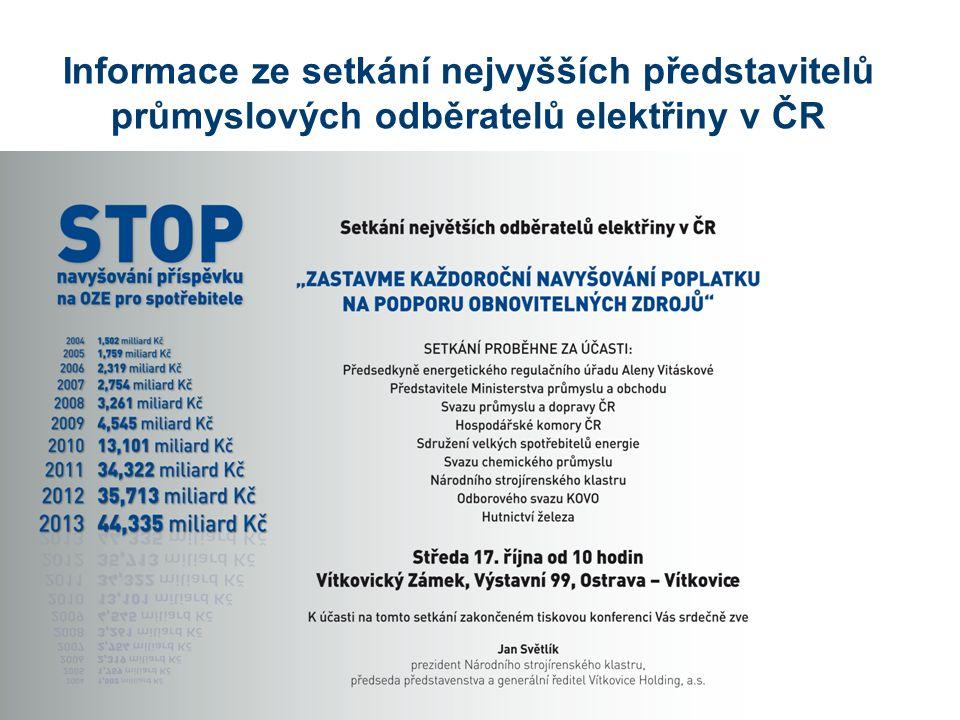 Informace ze setkání nejvyšších představitelů průmyslových odběratelů elektřiny v ČR