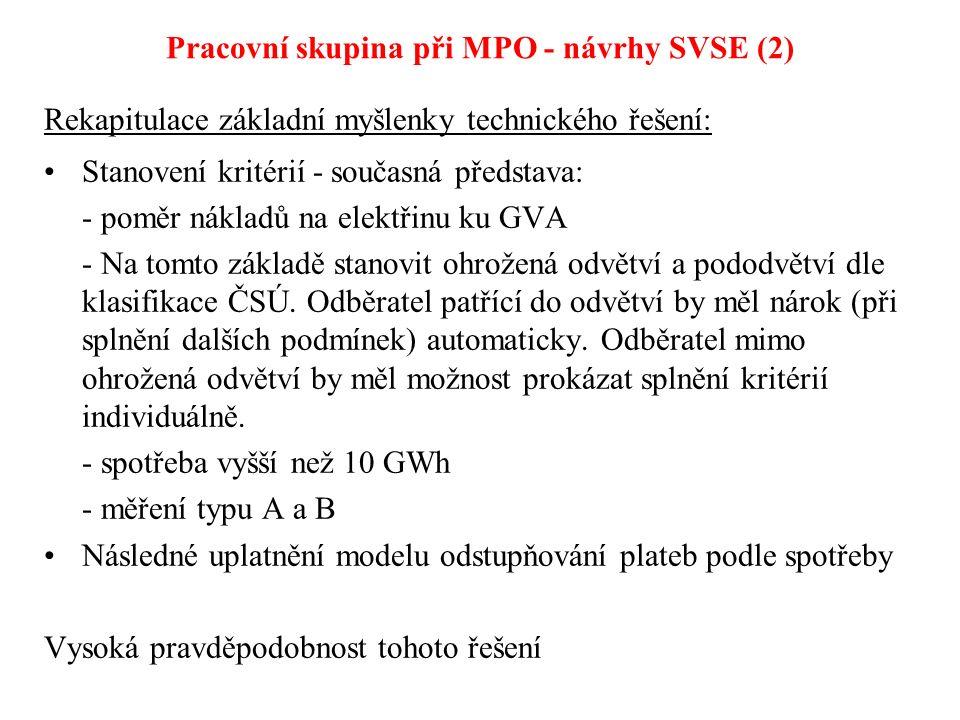 Pracovní skupina při MPO - návrhy SVSE (2) Rekapitulace základní myšlenky technického řešení: Stanovení kritérií - současná představa: - poměr nákladů na elektřinu ku GVA - Na tomto základě stanovit ohrožená odvětví a pododvětví dle klasifikace ČSÚ.