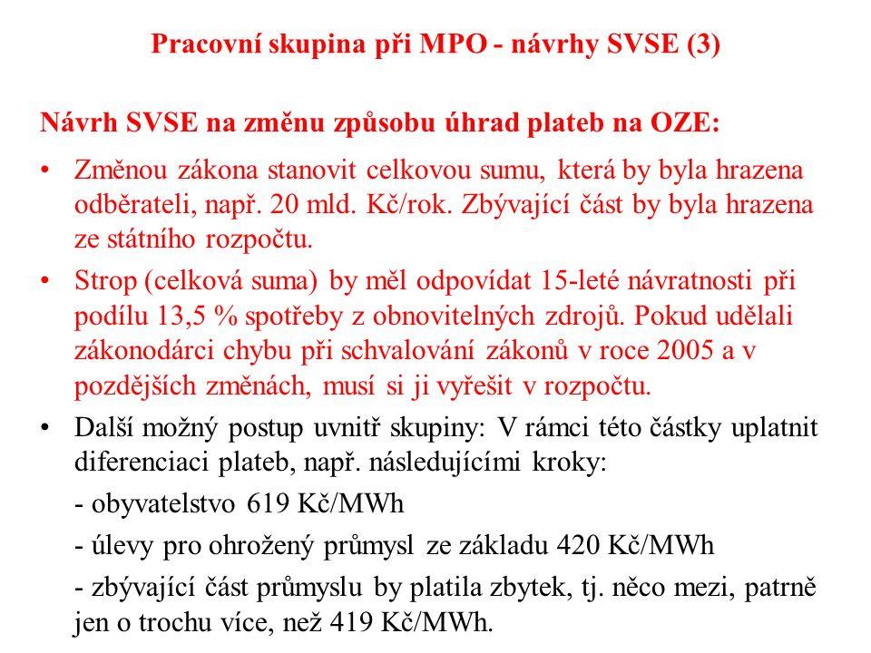 Pracovní skupina při MPO - návrhy SVSE (3) Návrh SVSE na změnu způsobu úhrad plateb na OZE: Změnou zákona stanovit celkovou sumu, která by byla hrazena odběrateli, např.