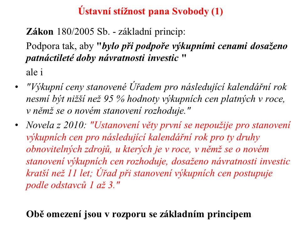 Ústavní stížnost pana Svobody (1) Zákon 180/2005 Sb. - základní princip: Podpora tak, aby