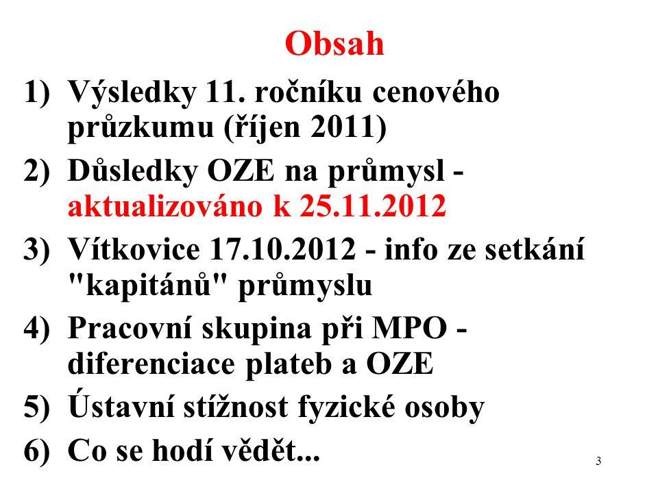 3 1)Výsledky 11. ročníku cenového průzkumu (říjen 2011) 2)Důsledky OZE na průmysl - aktualizováno k 25.11.2012 3)Vítkovice 17.10.2012 - info ze setkán