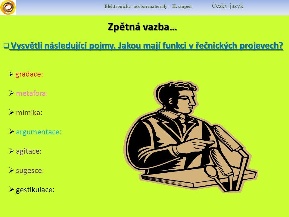 Elektronické učební materiály - II. stupeň Český jazyk Zpětná vazba…  Vysvětli následující pojmy.