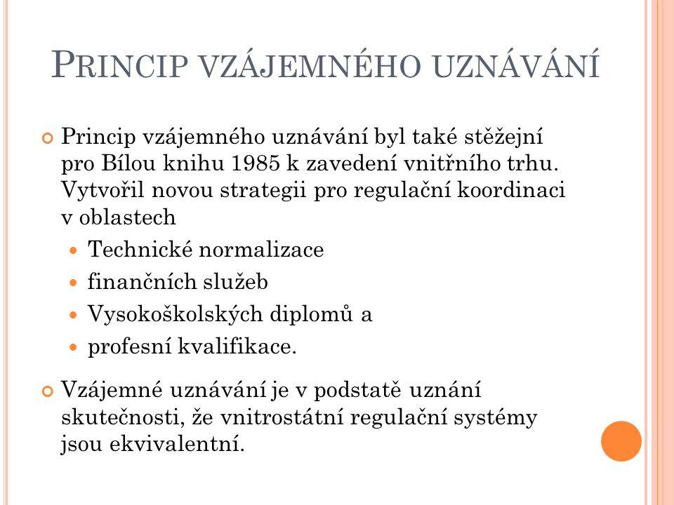 P RINCIP VZÁJEMNÉHO UZNÁVÁNÍ Princip vzájemného uznávání byl také stěžejní pro Bílou knihu 1985 k zavedení vnitřního trhu.