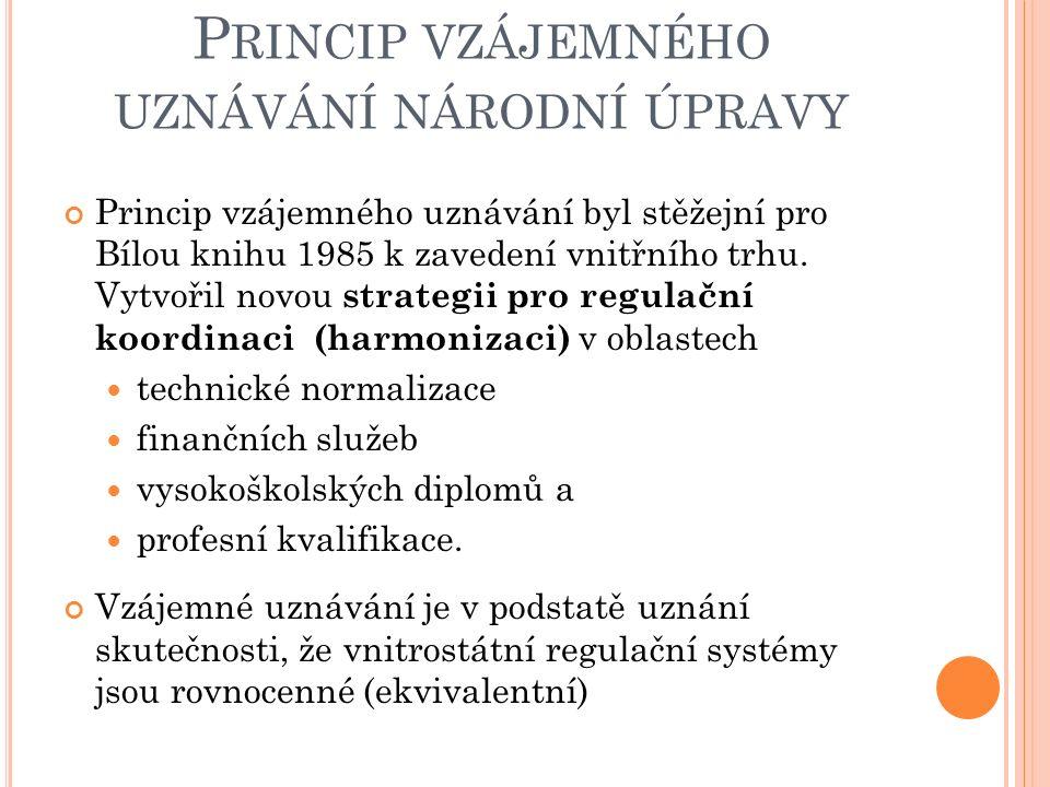 P RINCIP VZÁJEMNÉHO UZNÁVÁNÍ NÁRODNÍ ÚPRAVY Princip vzájemného uznávání byl stěžejní pro Bílou knihu 1985 k zavedení vnitřního trhu.
