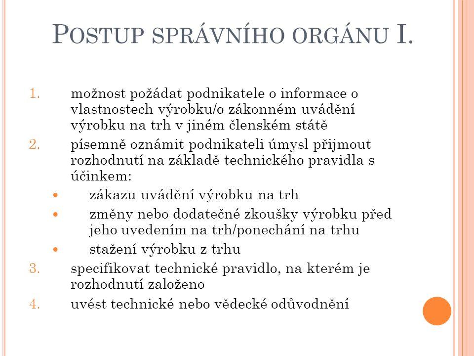 P OSTUP SPRÁVNÍHO ORGÁNU I.1.