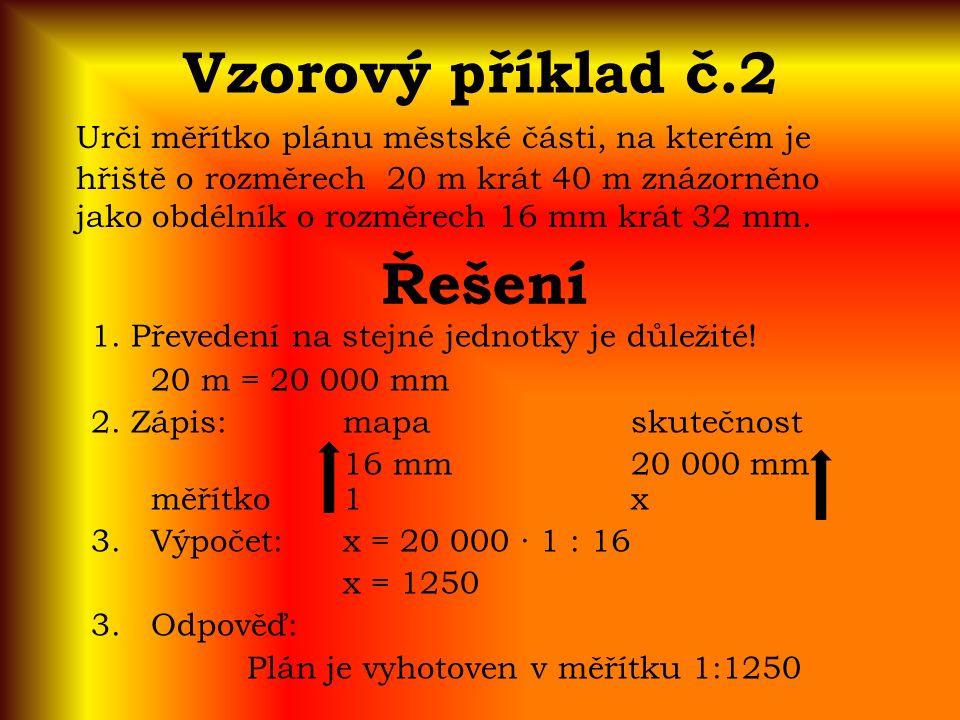 Vzorový příklad č.2 Urči měřítko plánu městské části, na kterém je hřiště o rozměrech 20 m krát 40 m znázorněno jako obdélník o rozměrech 16 mm krát 32 mm.