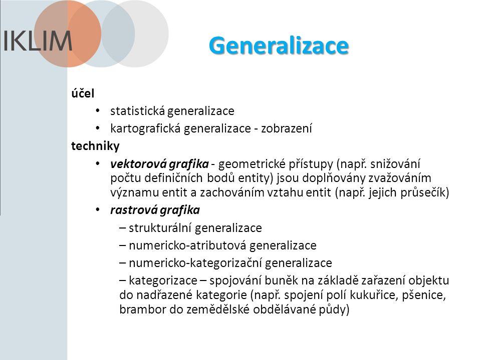 Generalizace účel statistická generalizace kartografická generalizace - zobrazení techniky vektorová grafika - geometrické přístupy (např. snižování p