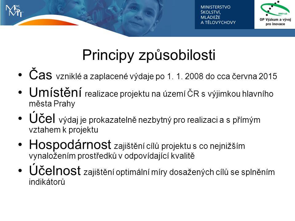 Principy způsobilosti Čas vzniklé a zaplacené výdaje po 1. 1. 2008 do cca června 2015 Umístění realizace projektu na území ČR s výjimkou hlavního měst