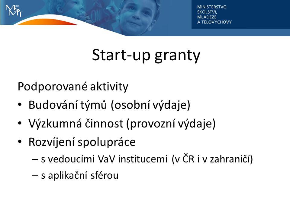 Start-up granty Podporované aktivity Budování týmů (osobní výdaje) Výzkumná činnost (provozní výdaje) Rozvíjení spolupráce – s vedoucími VaV institucemi (v ČR i v zahraničí) – s aplikační sférou