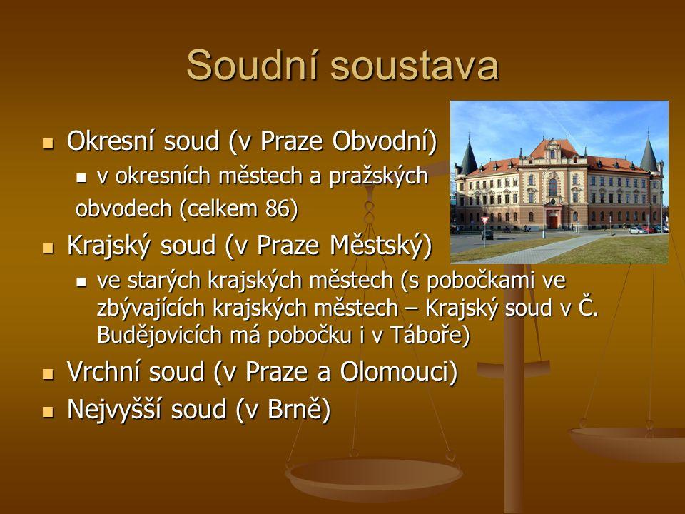 Soudní soustava Okresní soud (v Praze Obvodní) Okresní soud (v Praze Obvodní) v okresních městech a pražských v okresních městech a pražských obvodech