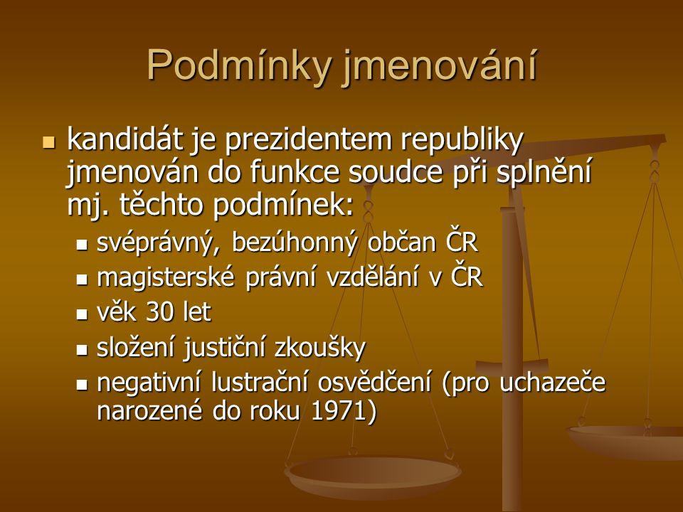 Podmínky jmenování kandidát je prezidentem republiky jmenován do funkce soudce při splnění mj. těchto podmínek: kandidát je prezidentem republiky jmen