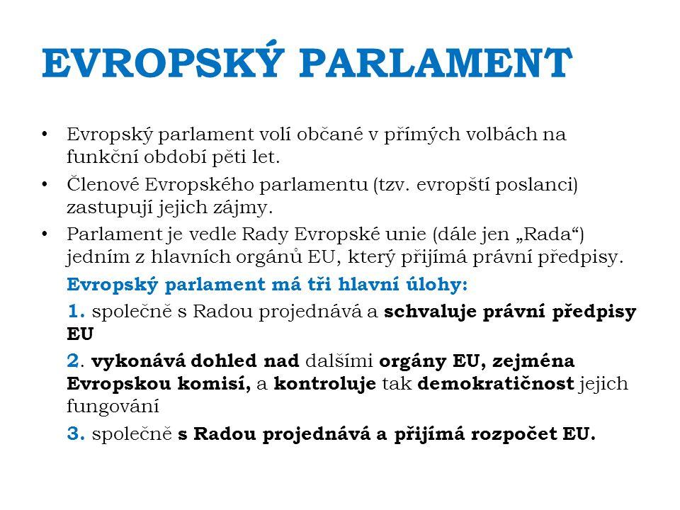 EVROPSKÝ PARLAMENT Evropský parlament volí občané v přímých volbách na funkční období pěti let.
